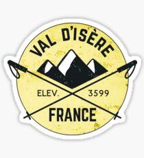 Val d'Isere France Skiing SAVOIE TARENTAISE VALLEY Ski Snowboard Mountain Silhouette Skis 3 Sticker