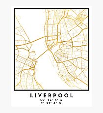 LIVERPOOL ENGLAND CITY STREET MAP ART Photographic Print
