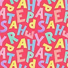 Happy Easter - bright, fun colourful text letters spell in yellow, green, pink, blue, purple on a red background by Sandra O'Connor