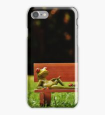 Funny Model Frogs Lounging On Bench iPhone Case/Skin
