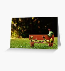 Funny Model Frogs Lounging On Bench Greeting Card