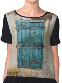 Grunge Old Wall Blue Painted Window Shutters Chiffon Top