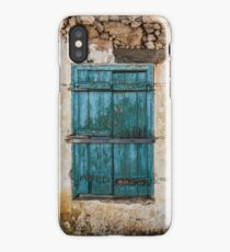 Grunge Old Wall Blue Painted Window Shutters iPhone Case/Skin
