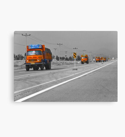 The Road To Tehran is Littered With Orange Trucks Canvas Print