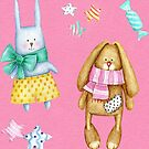Easter bunny pattern with brown and white rabbits on pink in watercolour by Sandra O'Connor