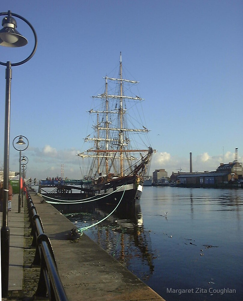 The Jeanie Johnston on the Liffy, Dublin by Margaret Zita Coughlan