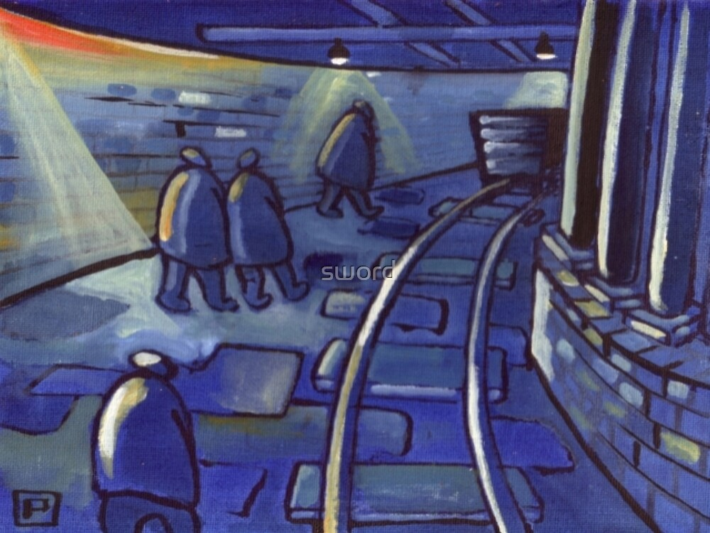 Down the coal mine (from my original acrylic ) by sword