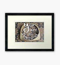"""You Are My Sunshine"" Lettering Design Framed Print"