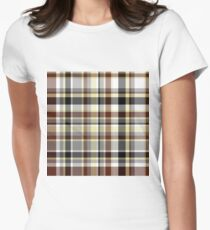 Plaid - Brown Women's Fitted T-Shirt