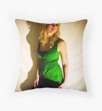 Sanna in green II Throw Pillow
