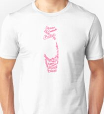 Pink Ballet Pointe Shoe Silhouette Filled Term Words T-Shirt