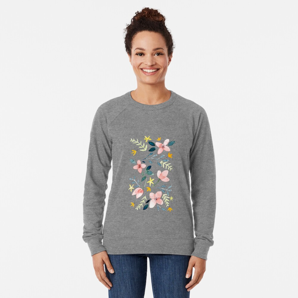 Watercolor Flowers Lightweight Sweatshirt