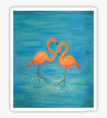 Two Flamingos - Pastel (Colored Charcoal) Drawing Sticker