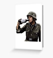 German Soldier Drinking Greeting Card