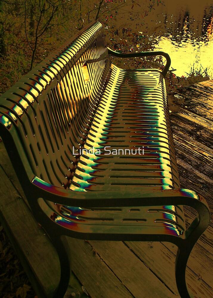 the golden bench by Linda Sannuti