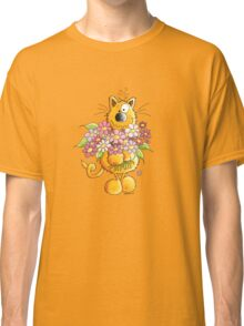 Cat with flower greetings Classic T-Shirt