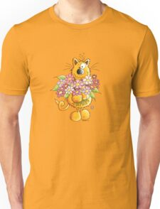 Cat with flower greetings Unisex T-Shirt