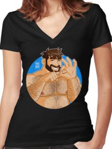 ADAM LIKES NAKED FUN Women's Fitted V-Neck T-Shirt