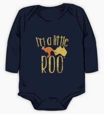I'm a little ROO cute kangaroo with Australian map distressed version One Piece - Long Sleeve