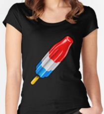 Red White and Blue Rocket Pop Popsicle Shirt Women's Fitted Scoop T-Shirt