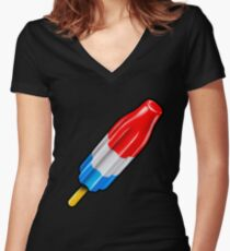Red White and Blue Rocket Pop Popsicle Shirt Women's Fitted V-Neck T-Shirt