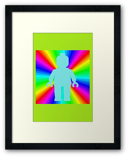 Blue Minifig in front of Rainbow by Customize My Minifig
