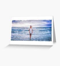 Woman Walking in Ocean Oil Painting Greeting Card