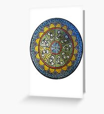 Bicycle Mandala in Blue Green and Yellow Greeting Card