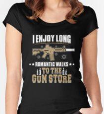 I Enjoy Long Romantic Walks To The Gun Store T Shirt Women's Fitted Scoop T-Shirt