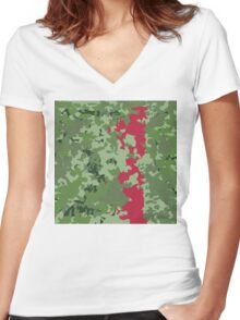 0032 camouflaged fire hydrant  Women's Fitted V-Neck T-Shirt