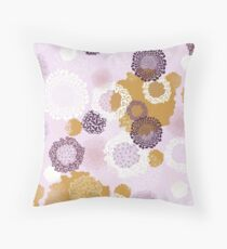 Doily Flowers in Purple, White and Mustard on Pink Throw Pillow