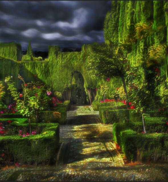 Garden Particle • The Alhambra, Granada • Spain by Ted Byrne