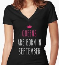 Queens Are Born In September. Women's Fitted V-Neck T-Shirt