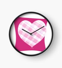 Pink Patterned Heart Clock
