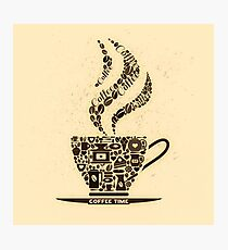 Coffee Cup Made From Coffee Icons Photographic Print