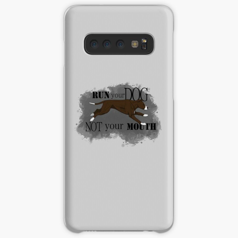 Run Your Dog Not Your Mouth American Pit Bull Terrier Chocolate and White Case & Skin for Samsung Galaxy