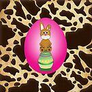 Fuschia Easter Egg w/Bunny Brown & Gold Animal Print by moondreamsmusic