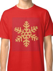 Knitted Yellow Snowflake Classic T-Shirt