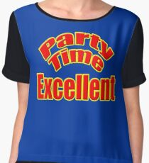 Party Time Excellent Quote T-Shirt Sticker Chiffon Top