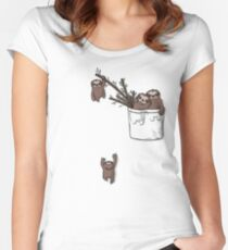 Pocket Sloth Family Women's Fitted Scoop T-Shirt