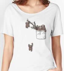 Pocket Sloth Family Women's Relaxed Fit T-Shirt