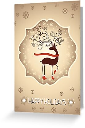 elegant reindeer christmas card happy holidays by sol noir studios - Elegant Christmas Cards