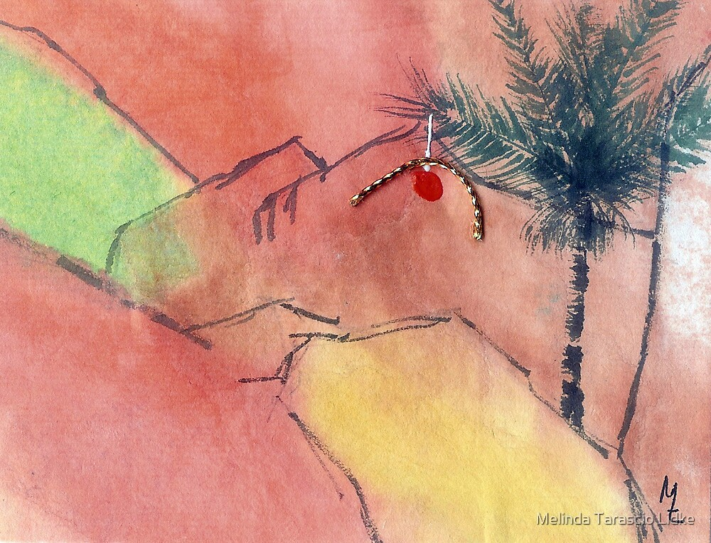 Christmas Palm Tree & Ornament Watercolor 34c by Melinda Tarascio Lidke