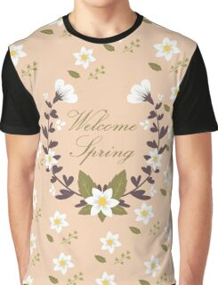 Spring Elements Pattern Wreath Graphic T-Shirt