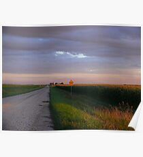 Sunset Harvest Country Gravel Road Poster