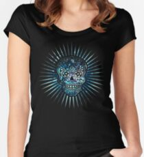 Cosmic Sugar Skull, Space, Galaxy Style Women's Fitted Scoop T-Shirt