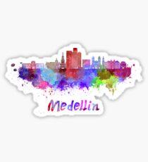 Medellin skyline in watercolor Sticker