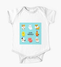 Assortment Farm Animals Flat Design One Piece - Short Sleeve