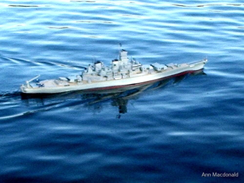 Model boat warship by Ann Macdonald