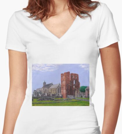 Lindisfarne Priory and St. Mary's Church Women's Fitted V-Neck T-Shirt